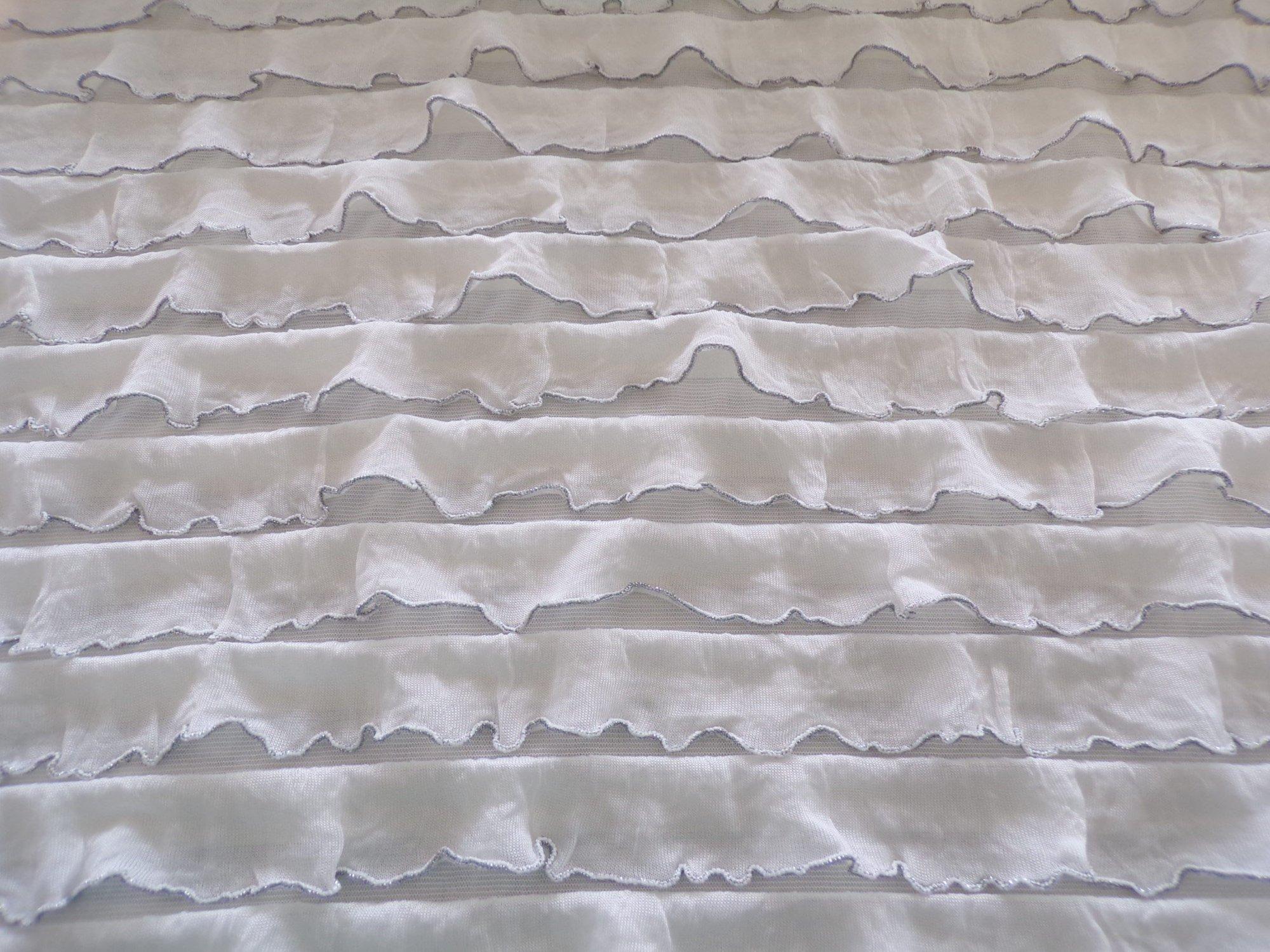 Polyester Nylon Ruffles - White with Silver