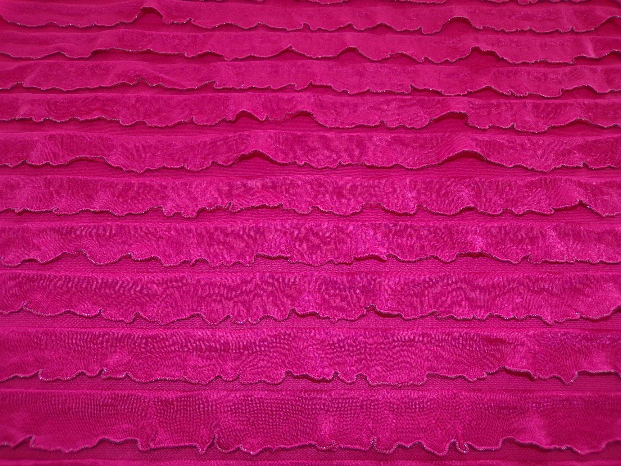 Polyester Nylon Ruffles - Raspberry