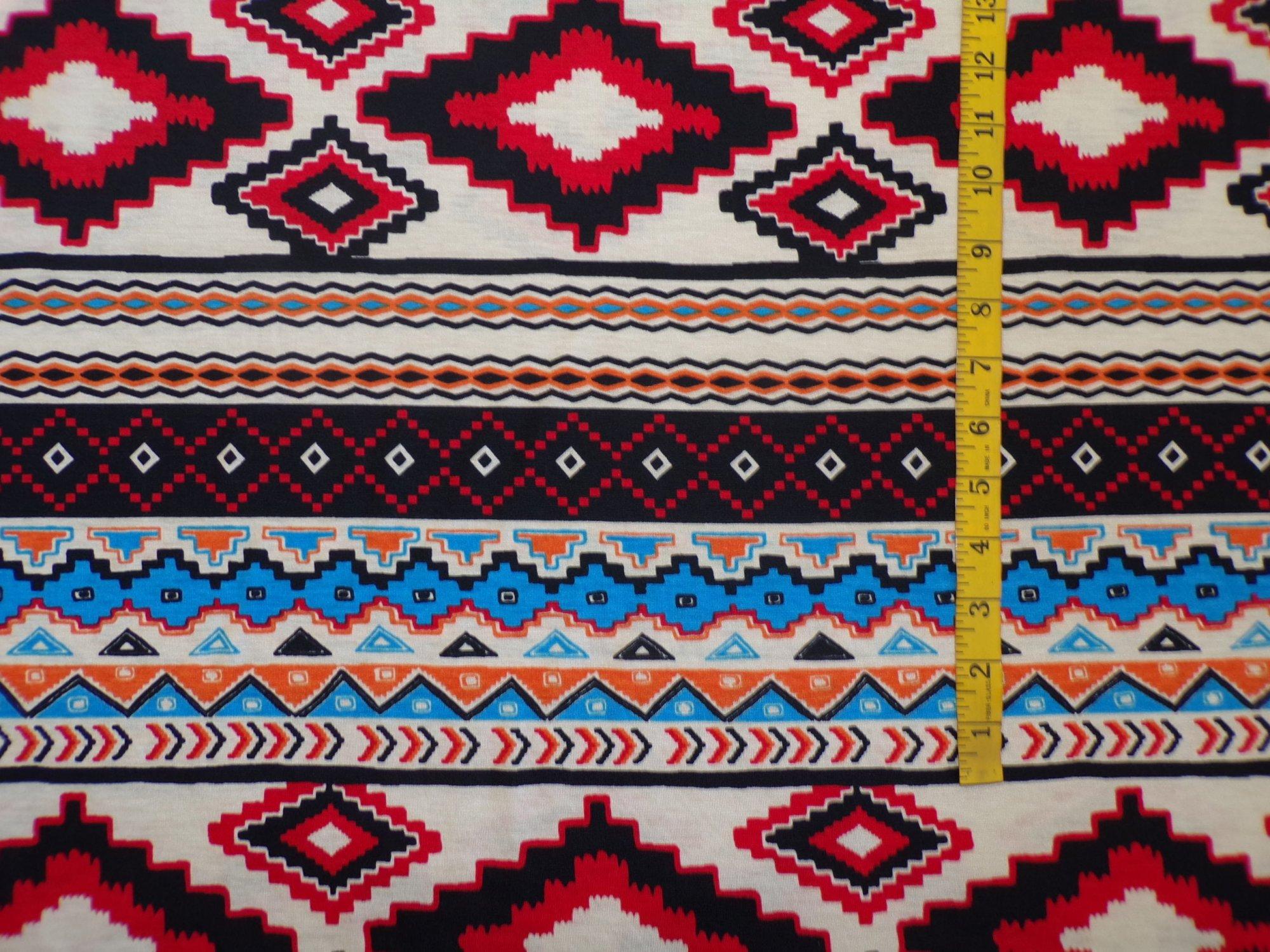 Polyester Rayon Jersey - Geometric Stripe