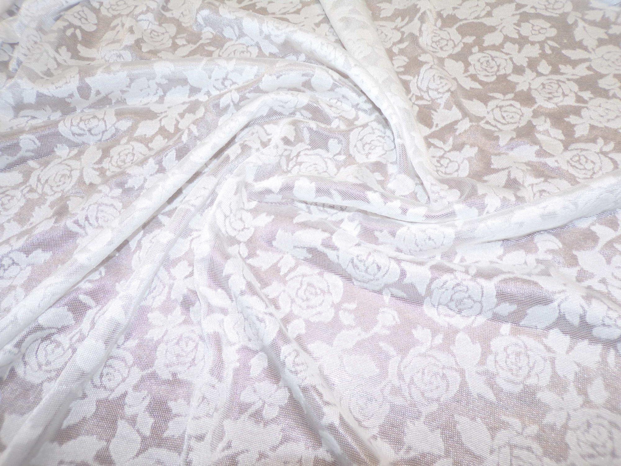 Polyester Rayon Jersey - White Rosebud Burnout