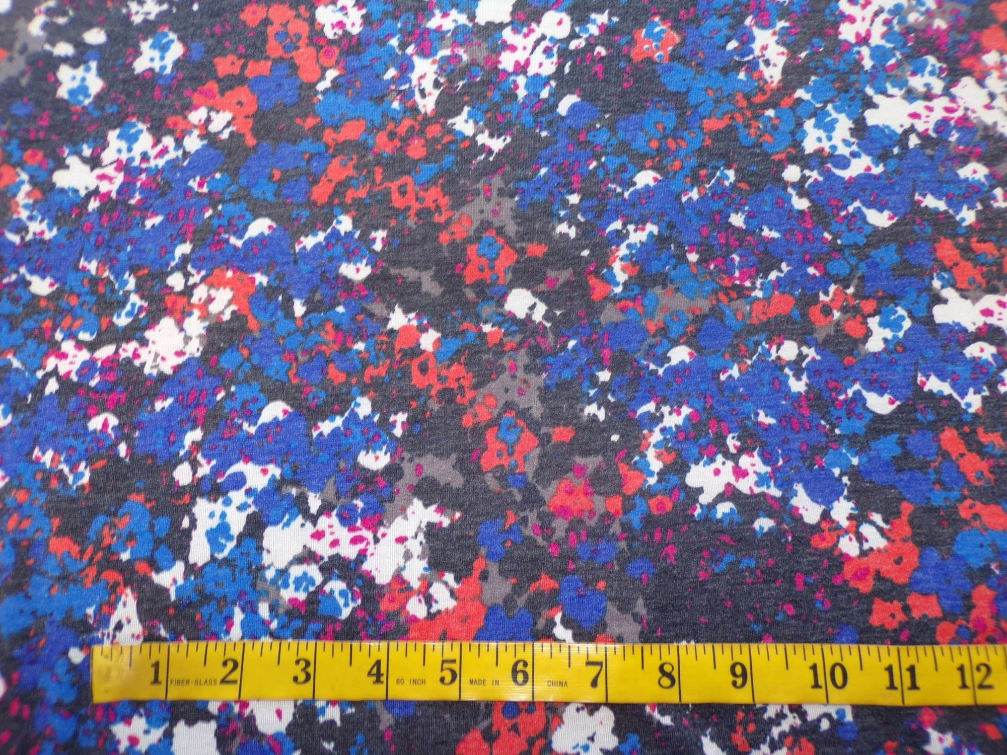 Polyester Rayon Lycra Jersey - Blue and Red Abstract