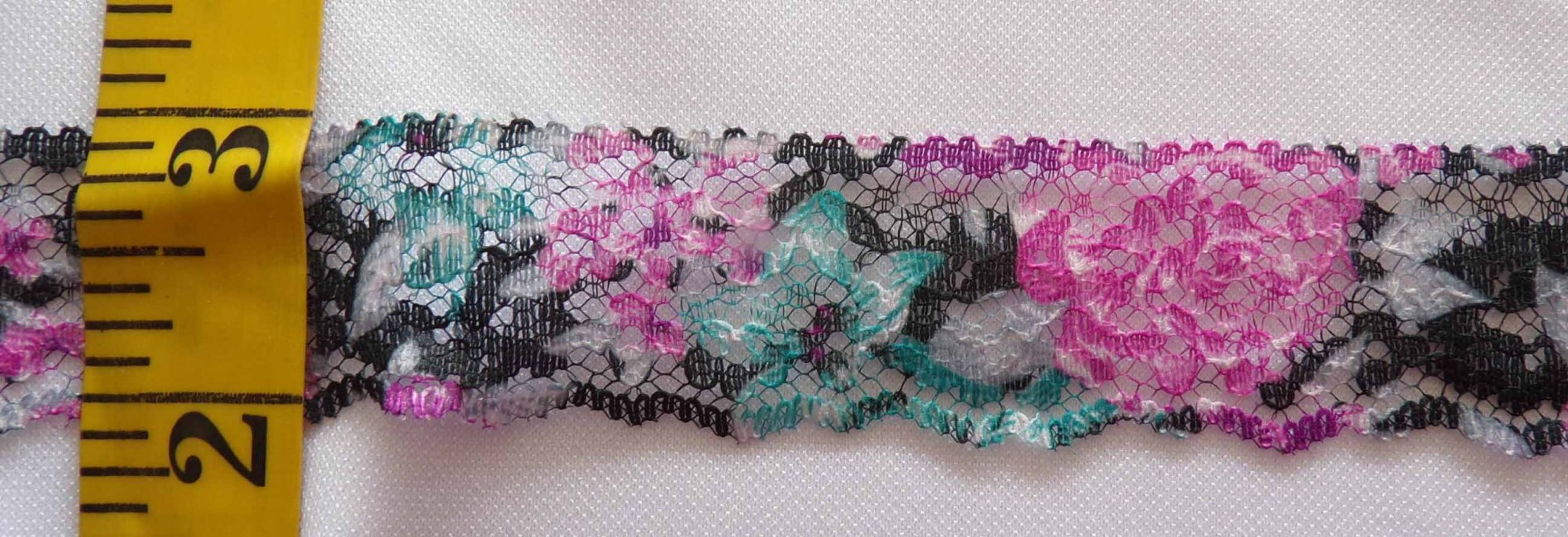 1 1/8 Rigid Lace - Fuschia, Teal, & Black Painted