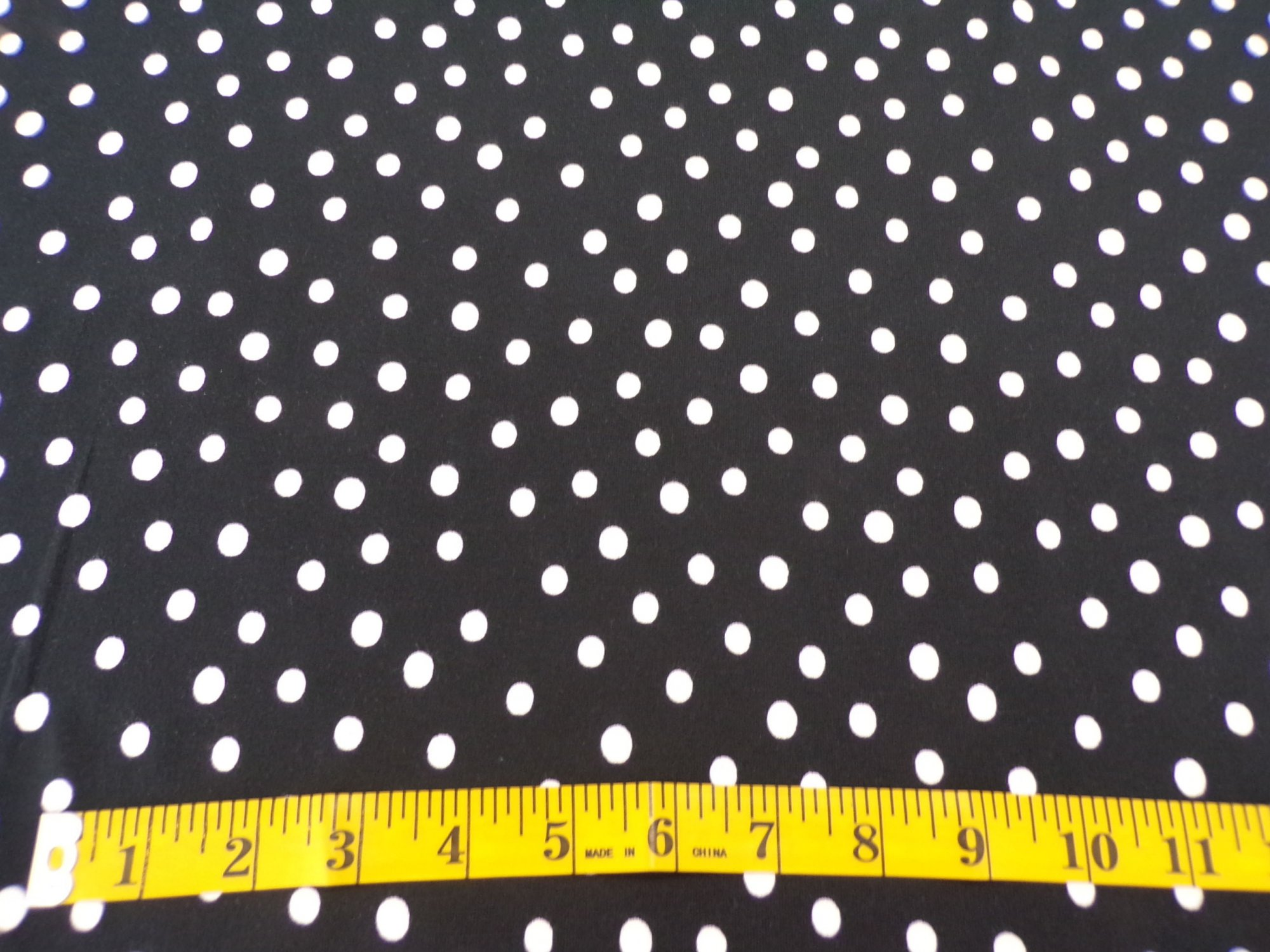 Rayon Lycra Jersey - Black with White Polka Dots