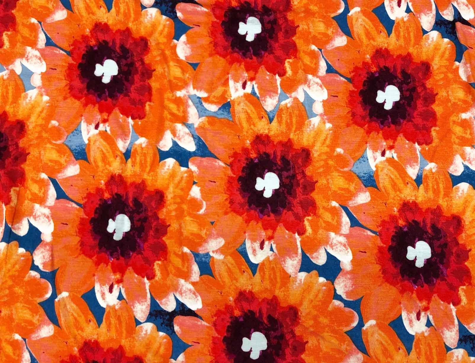 Rayon Lycra Jersey - Orange and Blue Floral
