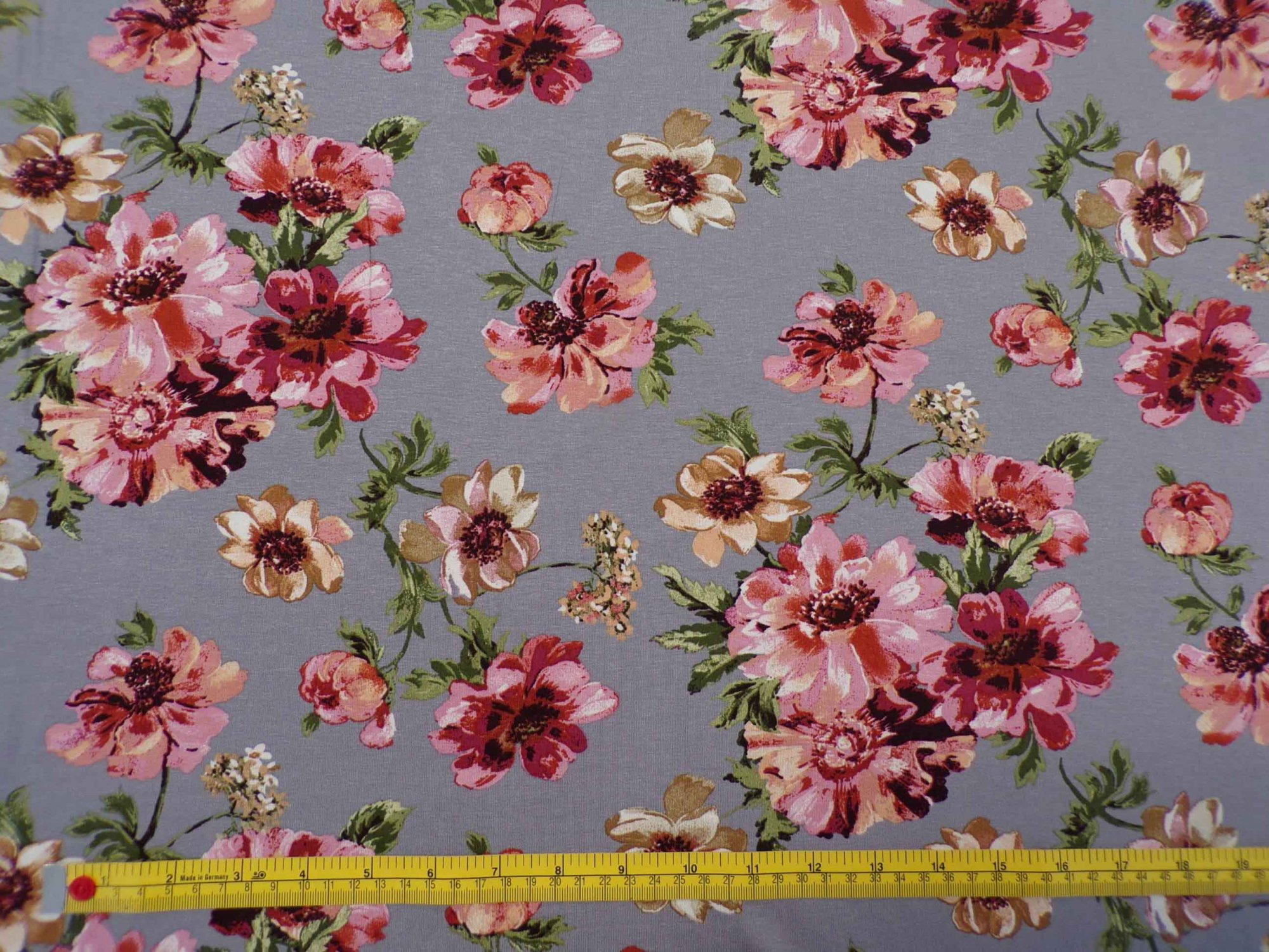 Rayon Lycra Jersey - Floral on Gray