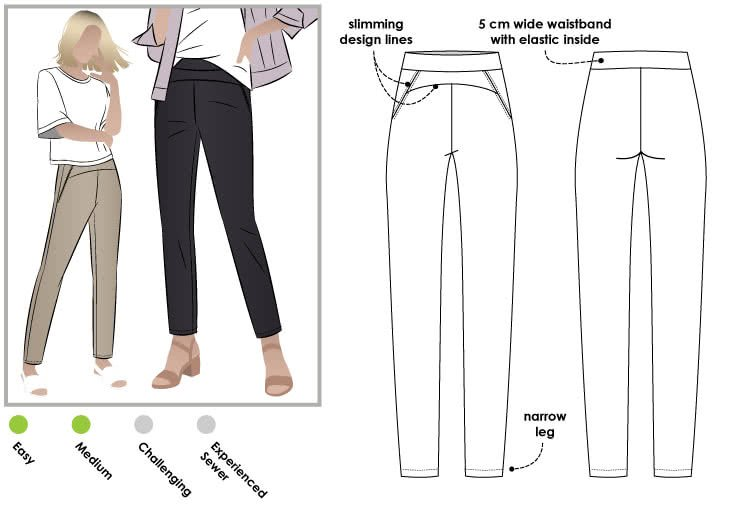 Style Arc Sage Stretch Pant Pattern