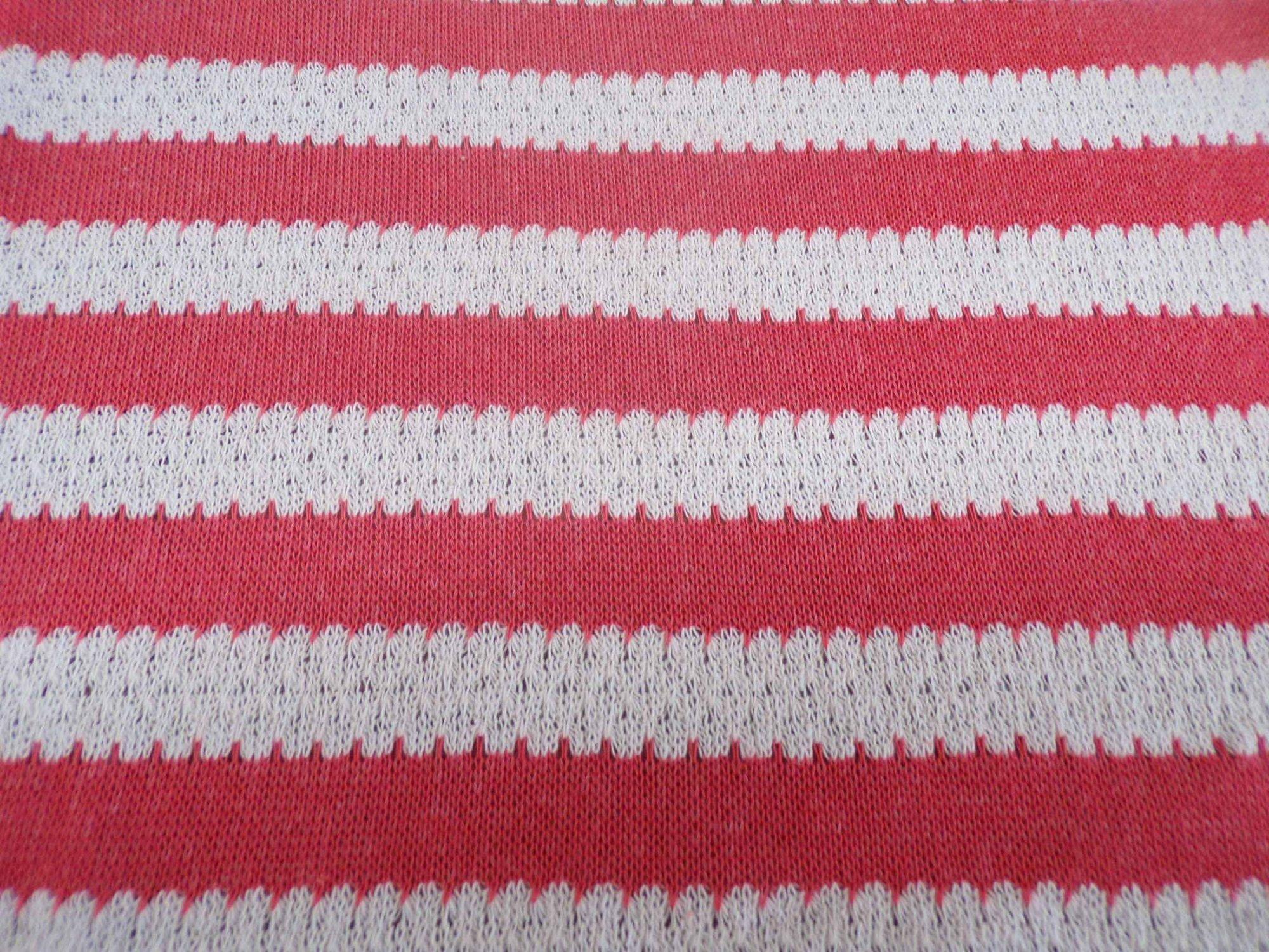Ella Moss Coral & Cream Striped Sweater Knit