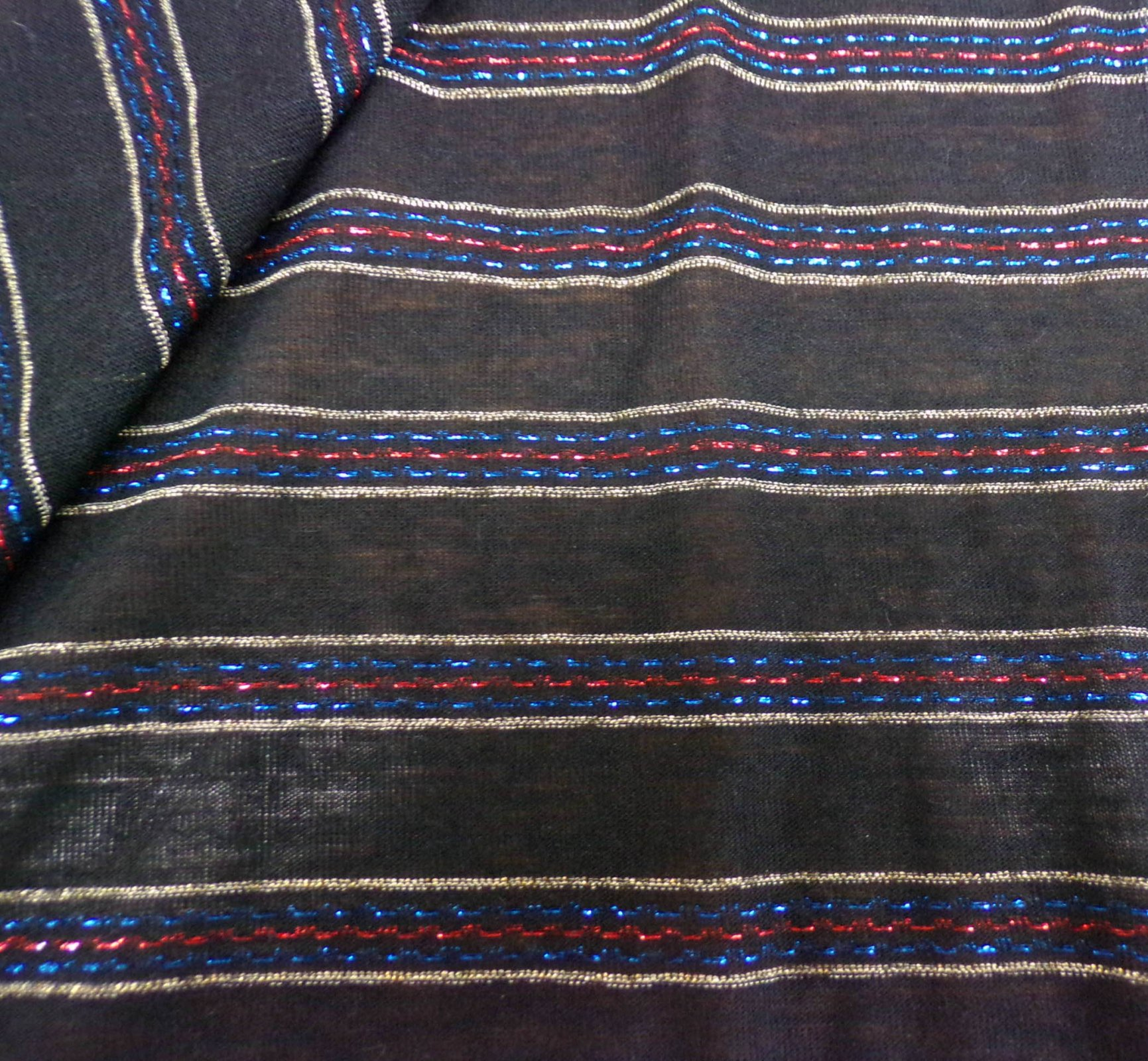Black Sweater Knit with Metallic Red & Blue Stripes