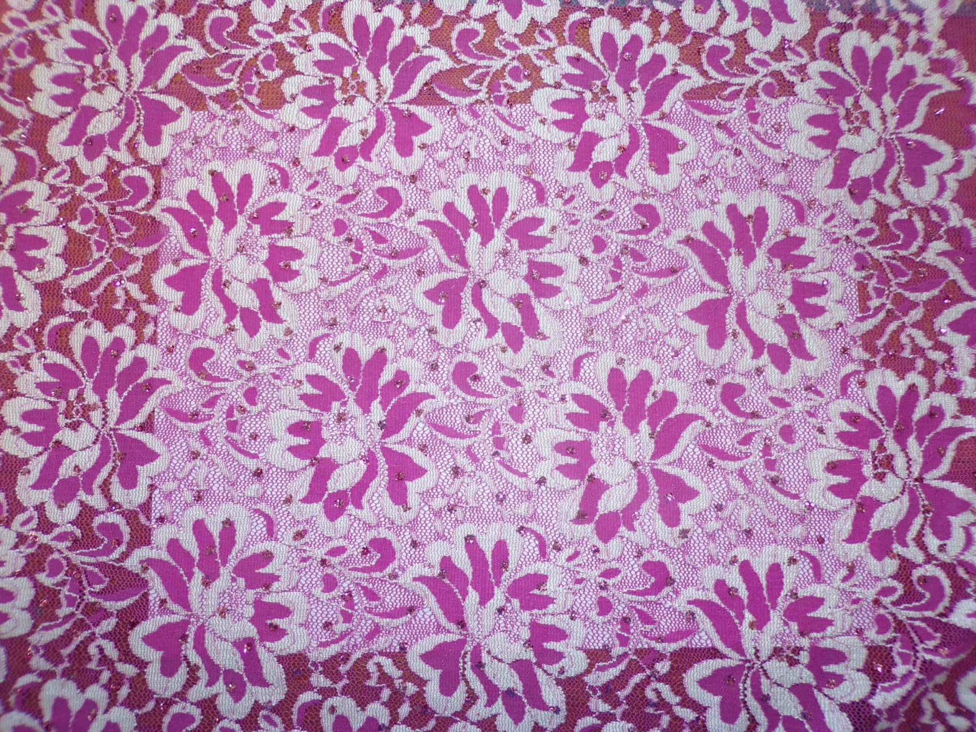 Polyester Lycra Stretch Lace - Fuschia and White