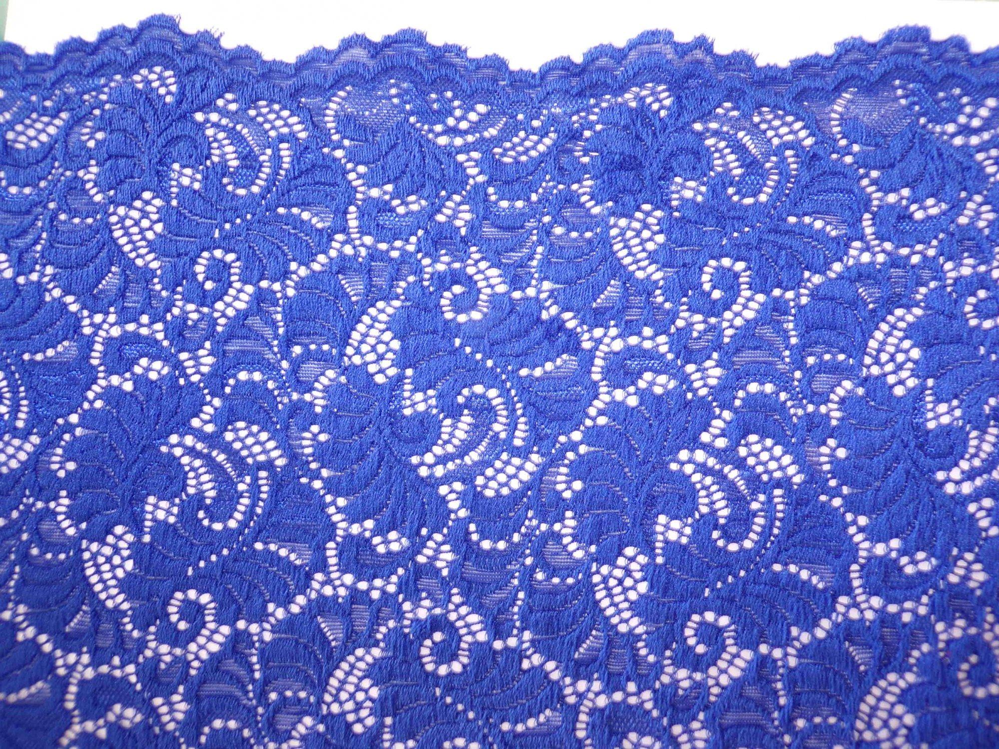 Scalloped Stretch Lace - Royal Blue