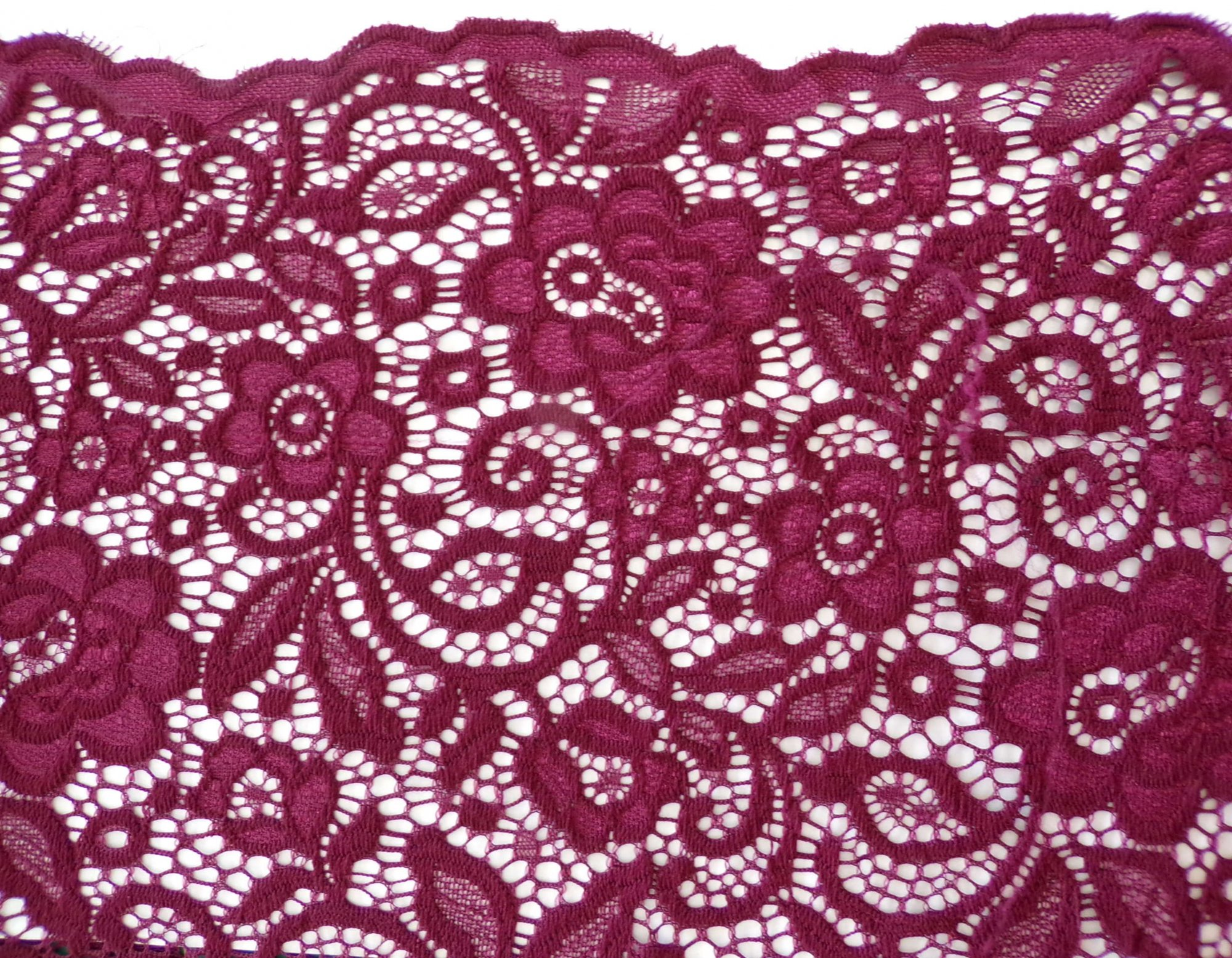Scalloped Stretch Lace - Burgundy