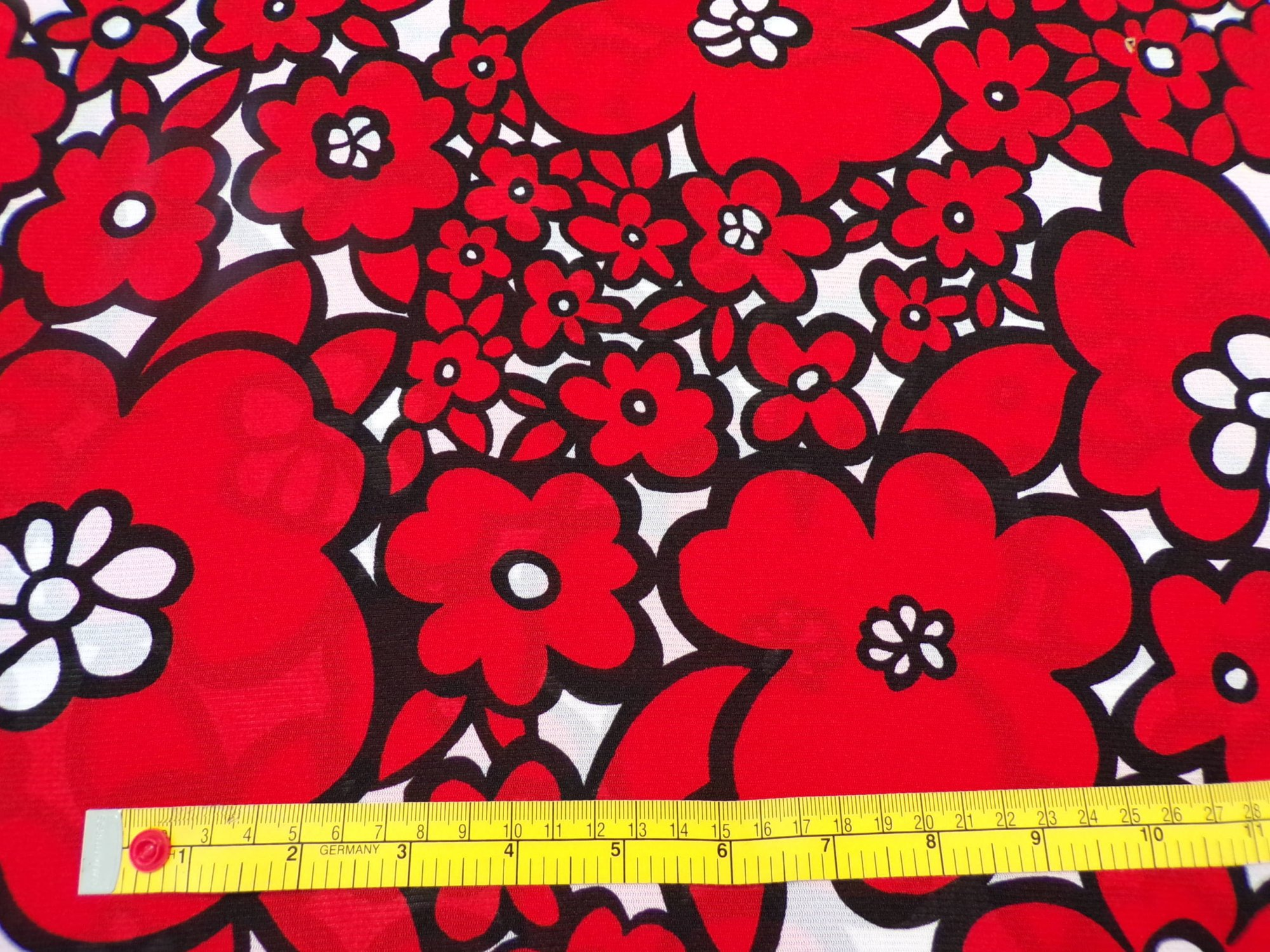 Stretch Mesh - Red Floral