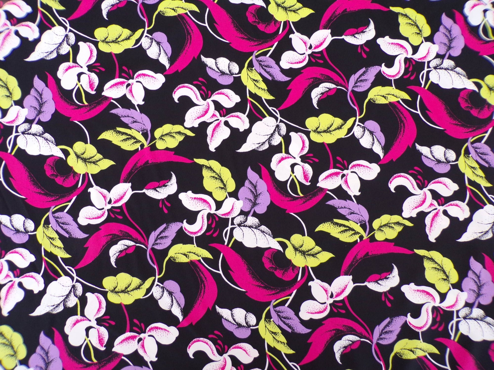 Polyester Lycra Swimwear - Black Pink Lime and White Floral`
