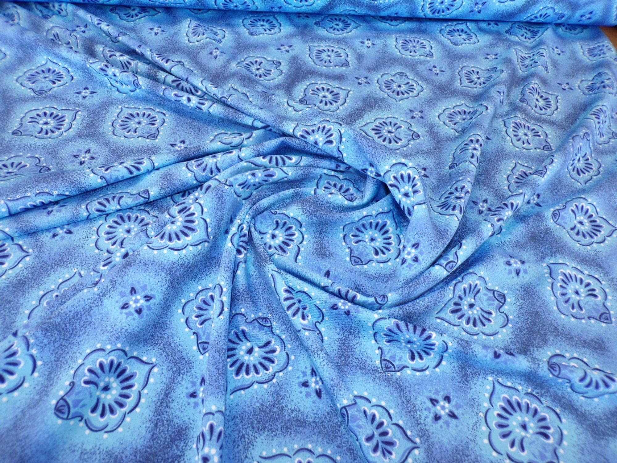 Nylon Lycra Swimwear - Light Blue Ornament Print