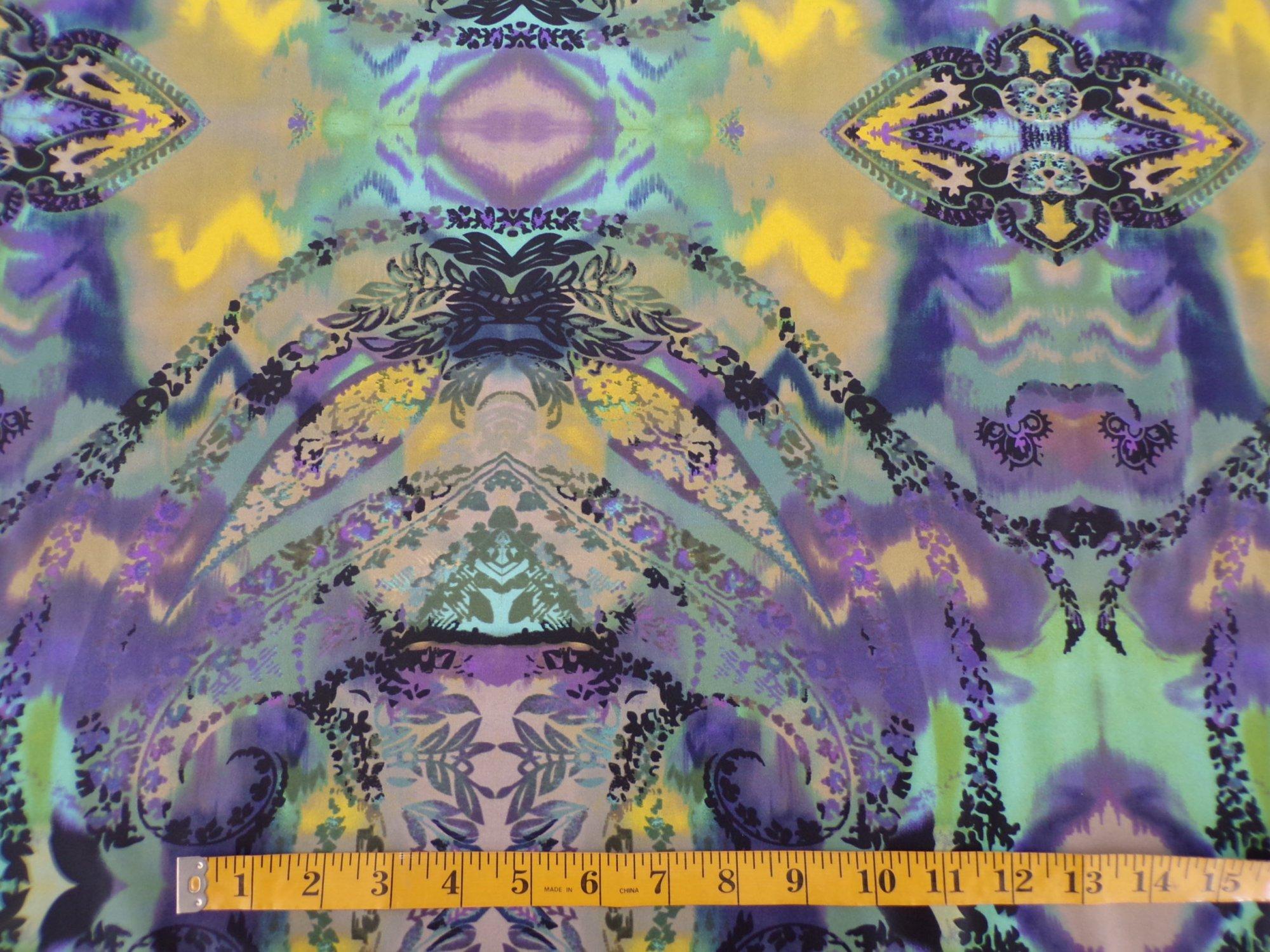 Nylon Lycra Swimwear - Purple Green & Yellow Print