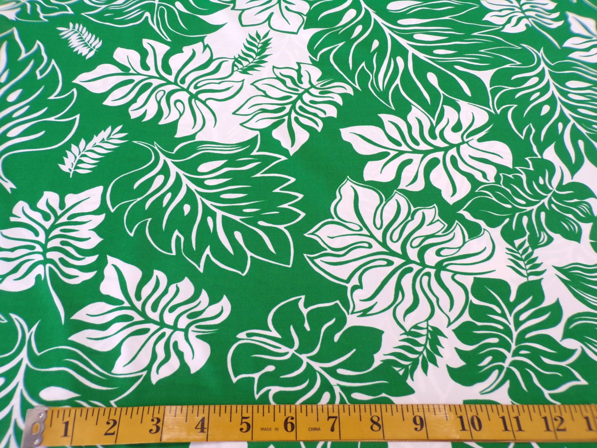 Swimwear - Green and White Leaf Print