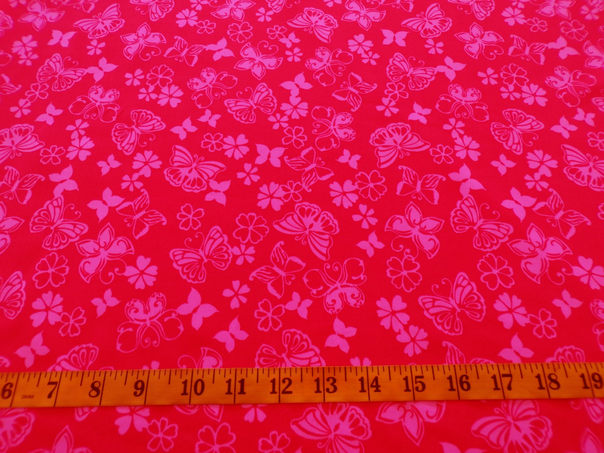 Swimwear - Red with Pink Flowers and Butterflies