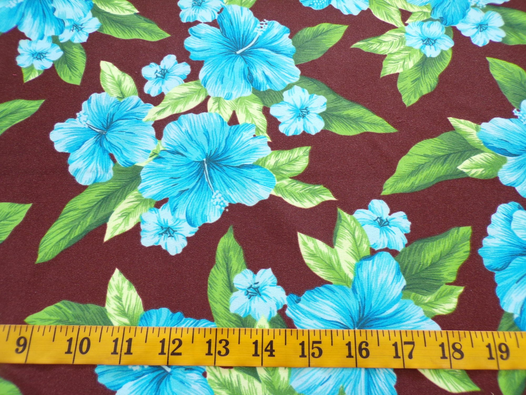 Swimwear - Brown with Turquoise and Green Flowers