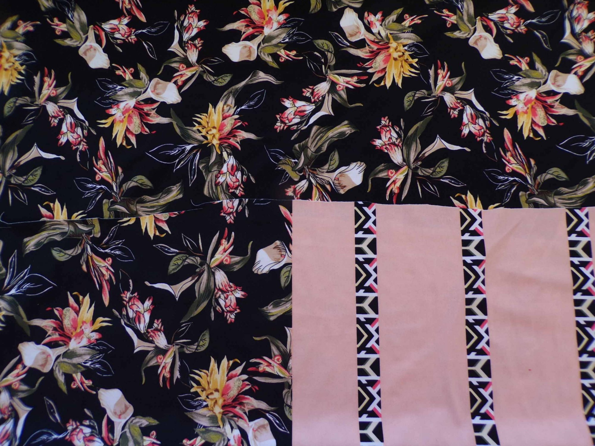 Swim/Activewear - Black and Peach Border Floral