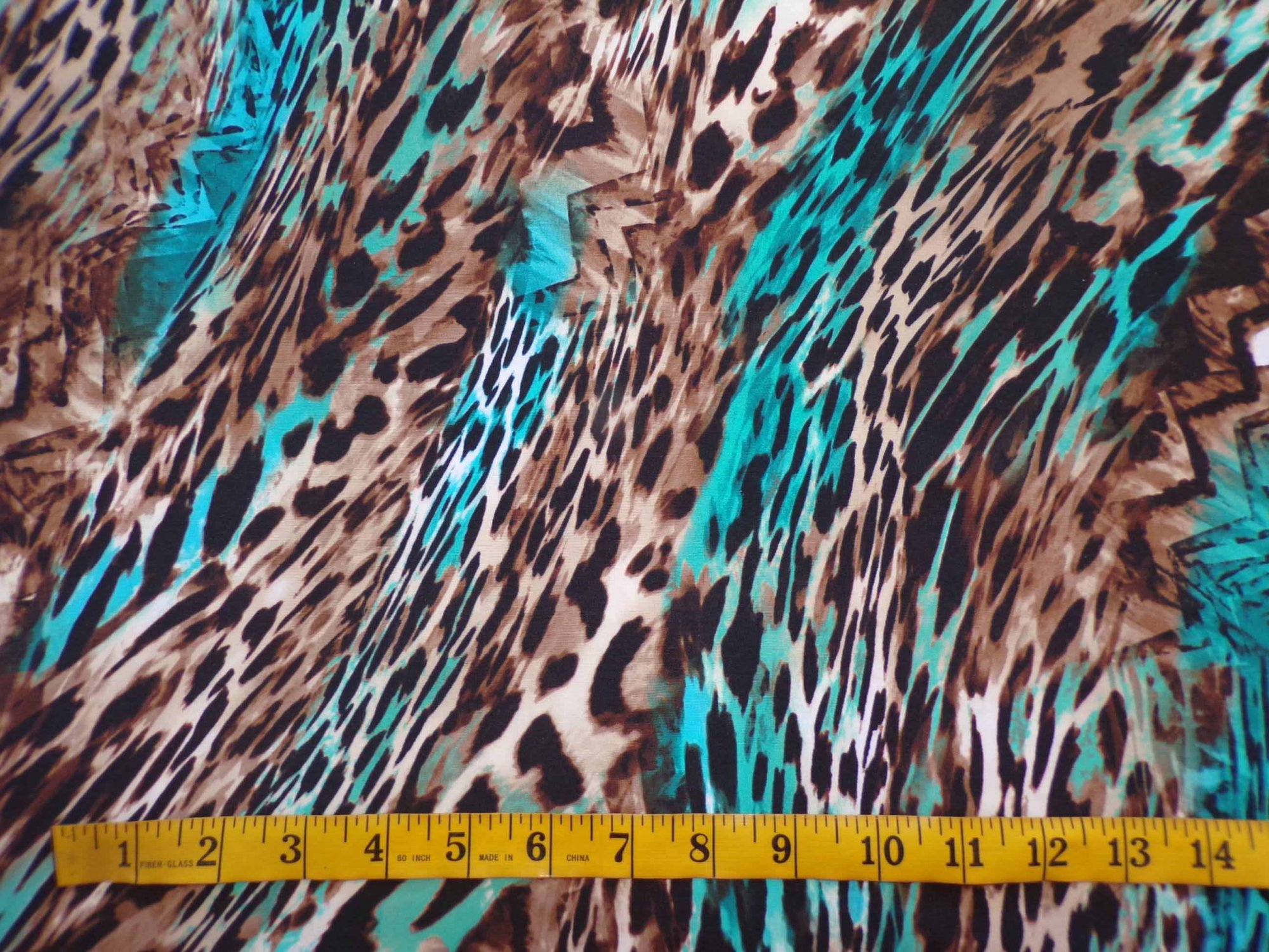 Swim/Activewear - Turquoise and Brown Animal Print