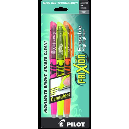 Pilot 46507 Frixion Lite Erasable Highlighter, Assorted Ink, 3/Pack