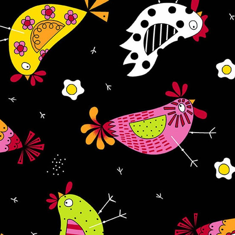 Andover Fabrics The Coop Chicken Dance Black A-9630-K