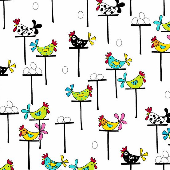 Andover Fabrics The Coop Perched Hens White A-9631-L