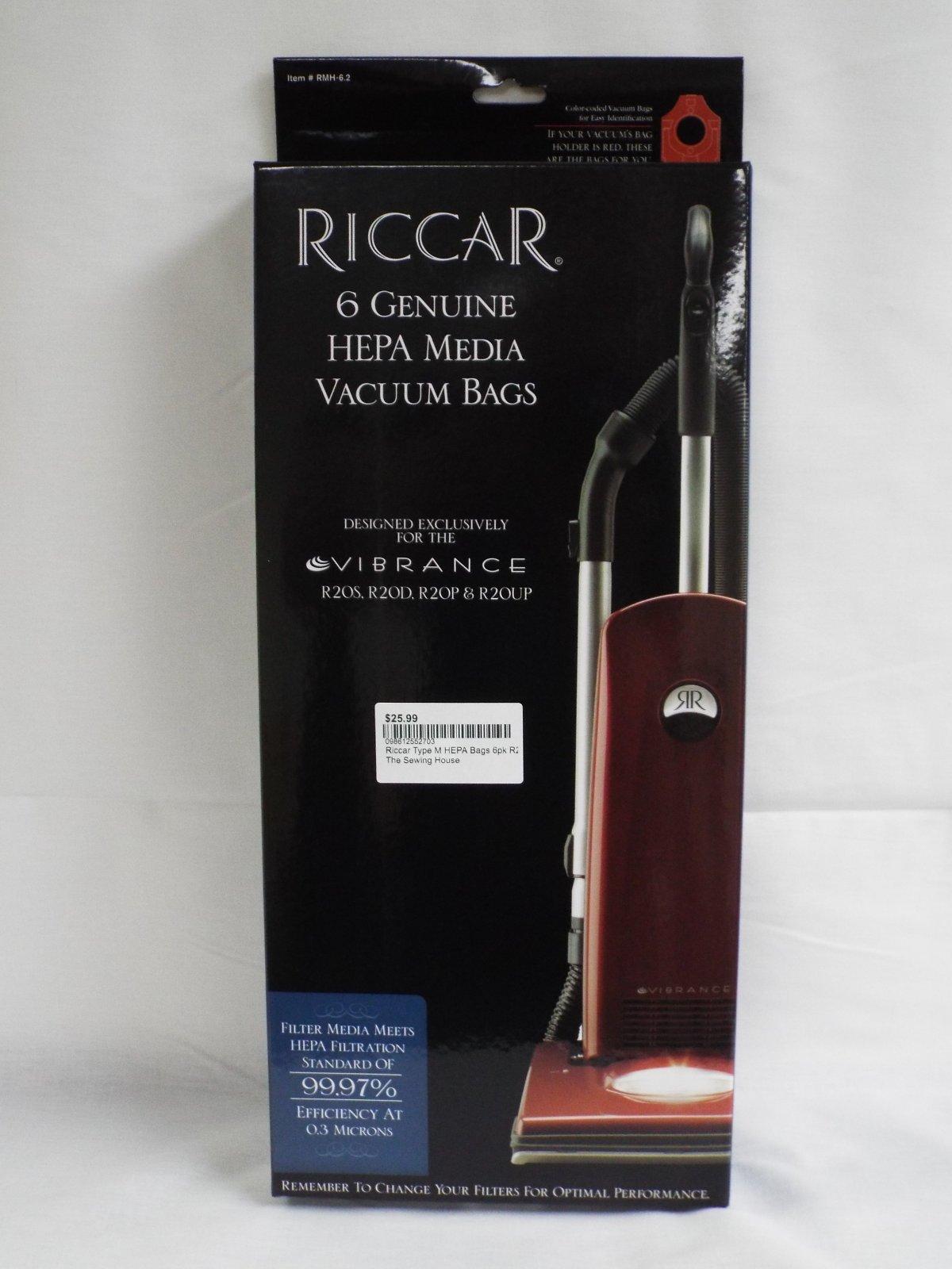 Riccar Type M HEPA Bags 6pk R20D, R20P & R20UP