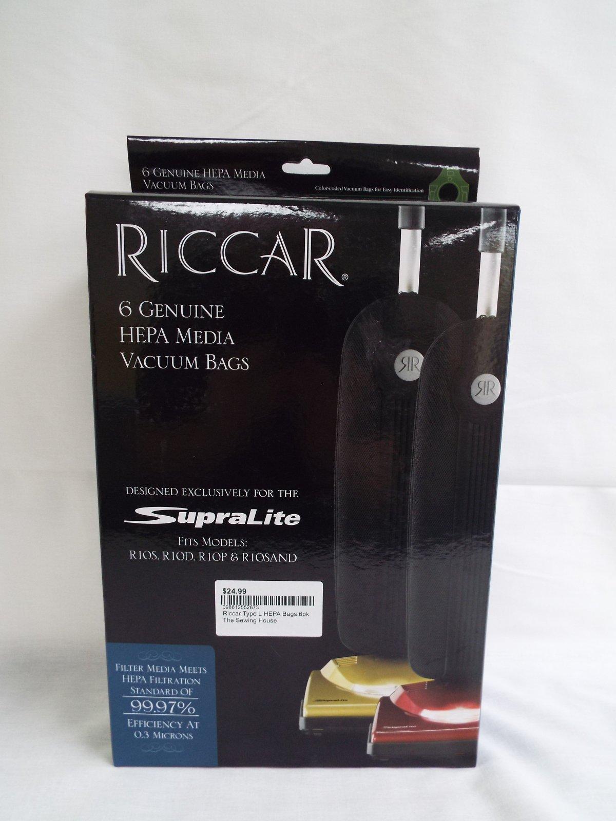Riccar Type L HEPA Bags 6pk R10S, R10D & R10P