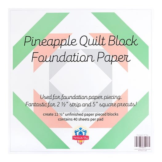 12 1/2  in Pineapple Quilt Block Foundation Paper Pad