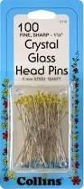 Crystal Glass Head Pins 6bx