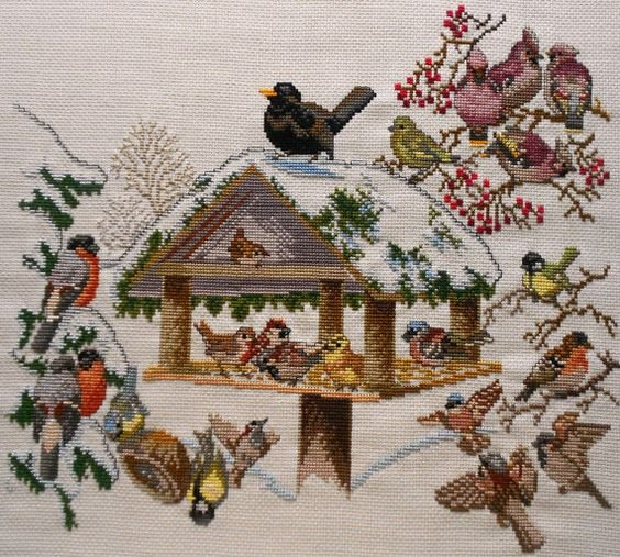 Eva Rosenstand - Birdhouse with Snow Counted Cross Stitch Kit