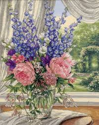Dimensions- Peonies & Delphiniums 12 x 15 Cross-Stitch