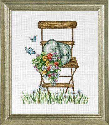 Permin Chair with Flowers Counted Cross Stitch Kit