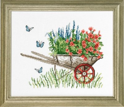 Permin Wheelbarrow with Flowers Counted Cross Stitch Kit