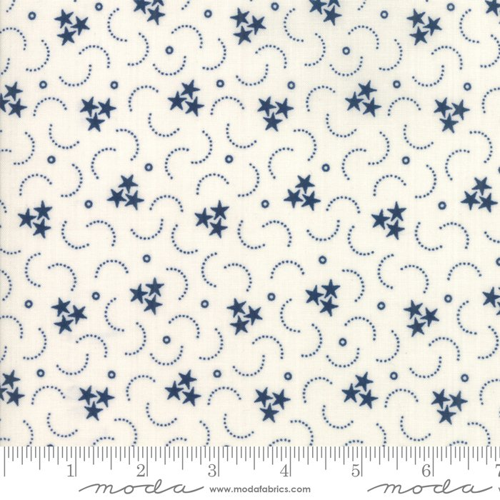 Fat Quarter - Star Stripe Gatherings - Ivory Blue