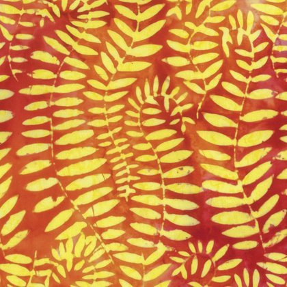 Fat Quarter - Artisan, Fronds, Tangerine