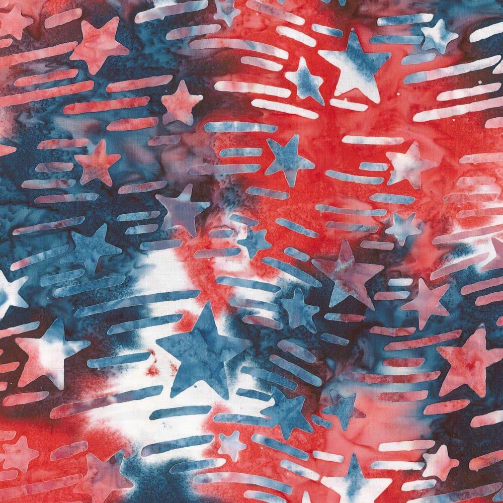 Batik, Stars & Stripes, Red/White/Blue