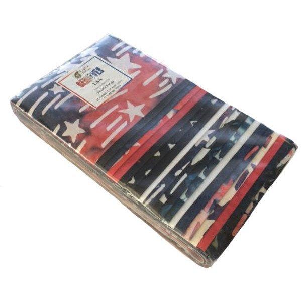 Batik, 5 Precut Strips, Red/White/Blue, 20 Pieces