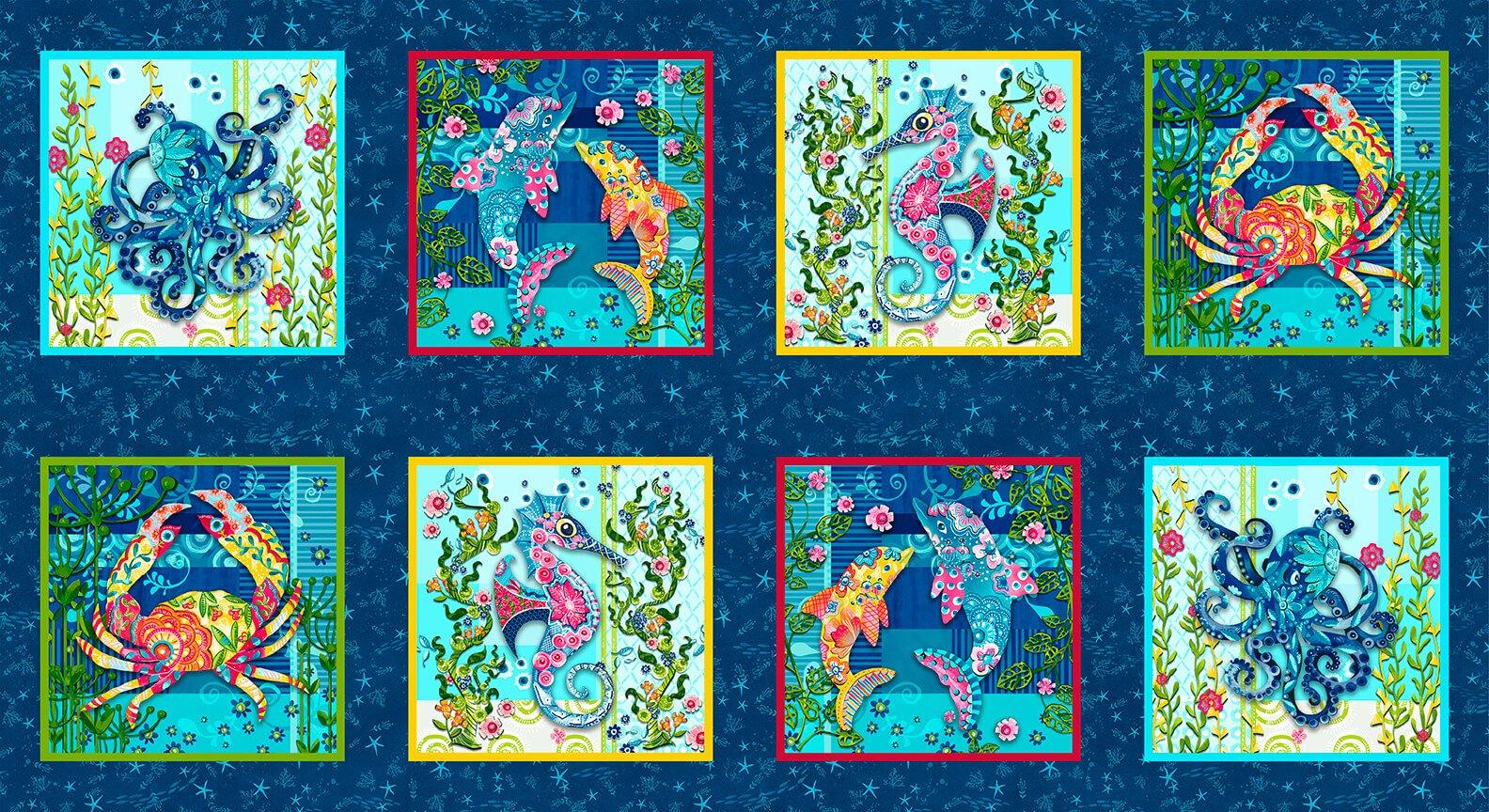 Blooming Ocean  Panel 5411-77 Dk. Blue9-inch Blocks