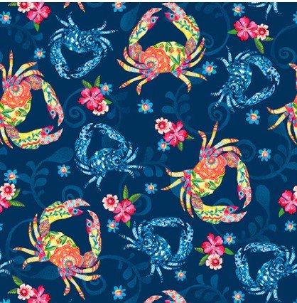 Blooming Ocean 5409-77 Dk. Blue Floral Crustaceans