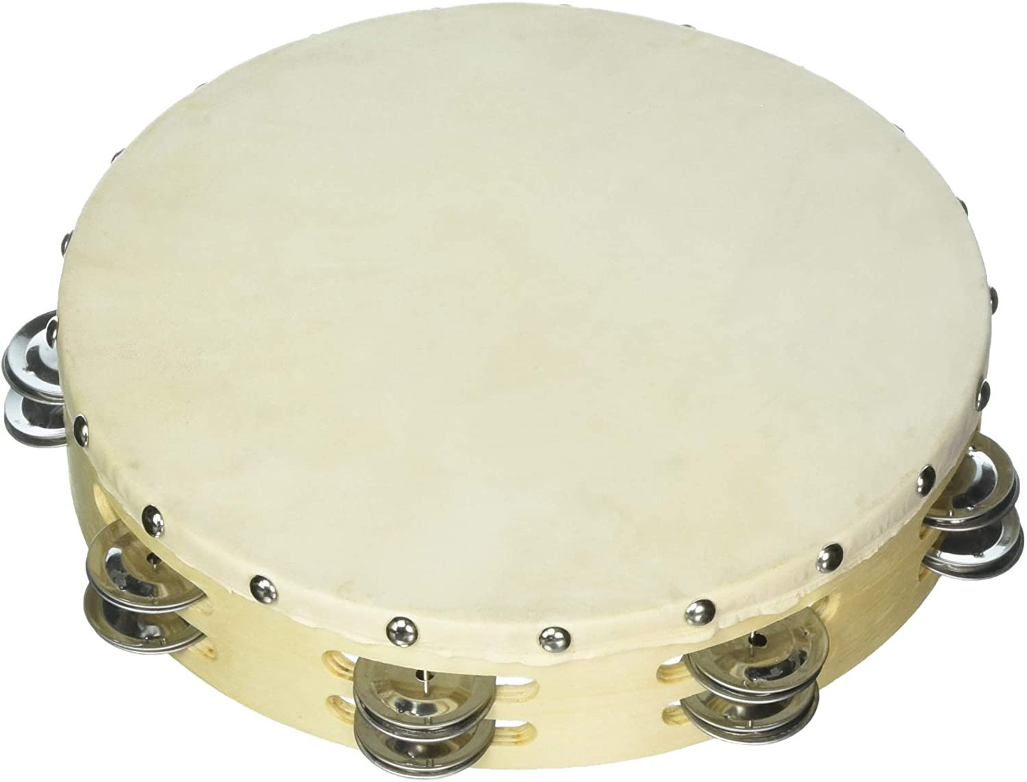 W310D 10 Tambourine With Skin Head With Double Row Of Jingles