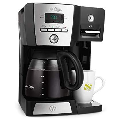 BVMC-DMX85: Mr. Coffee Versatile Brew 12-Cup Programmable Coffee Maker with 16 Oz. Hot Water Dispenser Black/Chrome