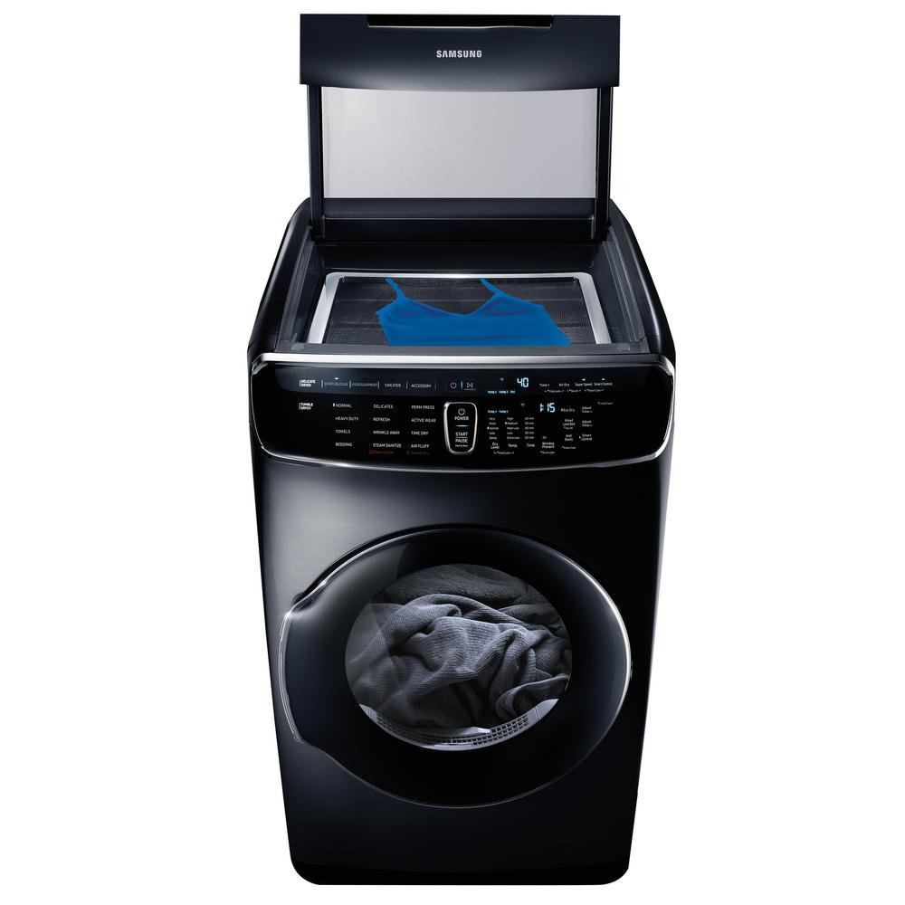 DVE60M9900V: Samsung 7.5 Total cu. ft. Electric FlexDry Dryer with Steam in Black Stainless Steel