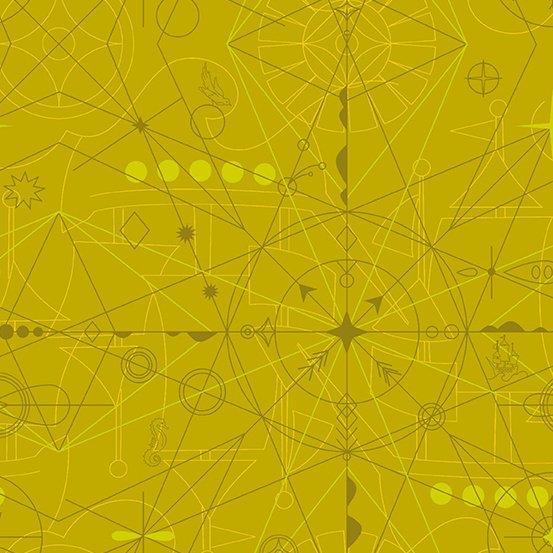 Sun Prints Compass Chartreuse