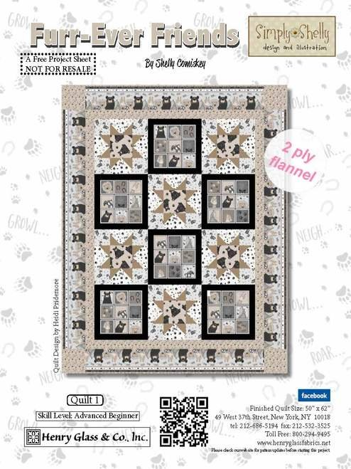 Furr-Ever Friends Quilt 1 Kit (Includes pattern and backing fabric)