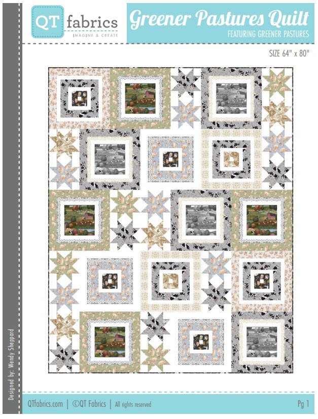Greener Pastures quilt kit - 64in x 80in - Includes backing fabric and pattern