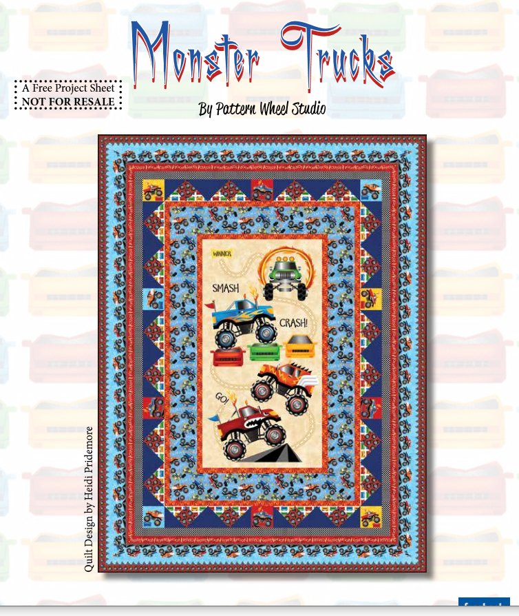 Monster Truck Quilt Kit (Backing Fabric & Pattern Included)