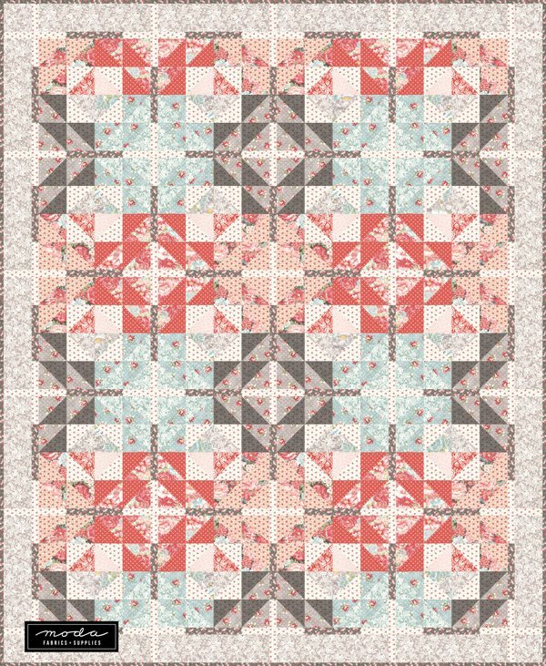 Farm house Crossing Quilt Kit - 77in x 94in - Includes backing fabric and pattern