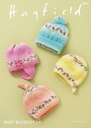 Hayfield Baby Blossom DK Hat Patterns 4839